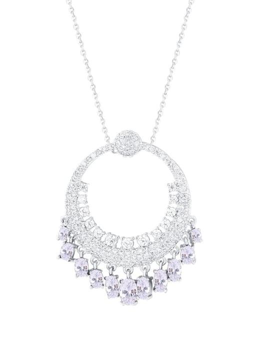 Platinum Brass Cubic Zirconia Round Vintage Necklace