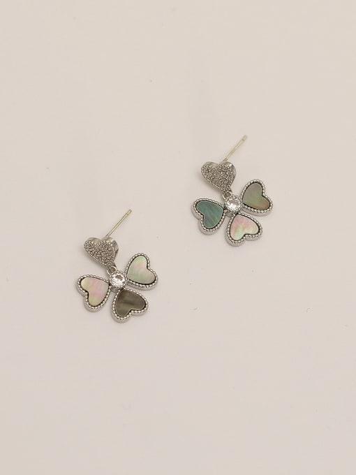 HYACINTH Brass Shell Flower Minimalist Stud Earring 4