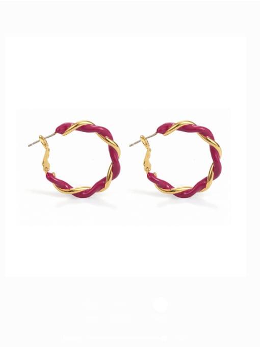 Five Color Brass Enamel Geometric Minimalist Hoop Earring 0