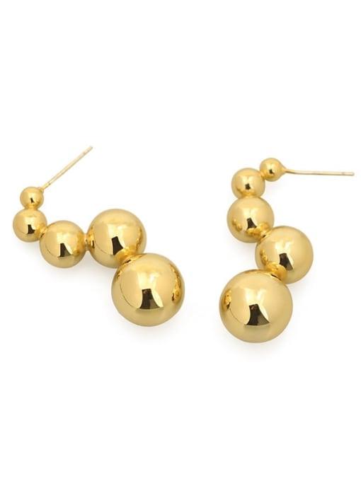 ACCA Brass Ball Hip Hop Stud Earring 4