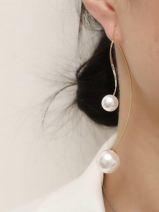 HYACINTH Brass Imitation Pearl Tassel Minimalist Hook Trend Korean Fashion Earring 1