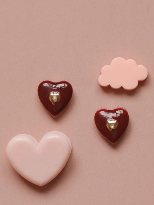 Five Color Alloy Enamel Heart Cute Stud Earring