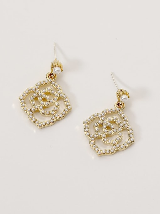 14k Gold Brass Imitation Pearl Geometric Bohemia Hook Earring