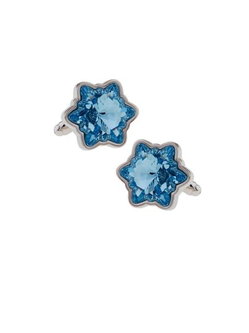 blue Brass Crystal Star Minimalist Cuff Link