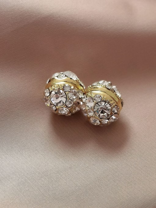 HYACINTH Brass Rhinestone Geometric Minimalist Stud Earring 0