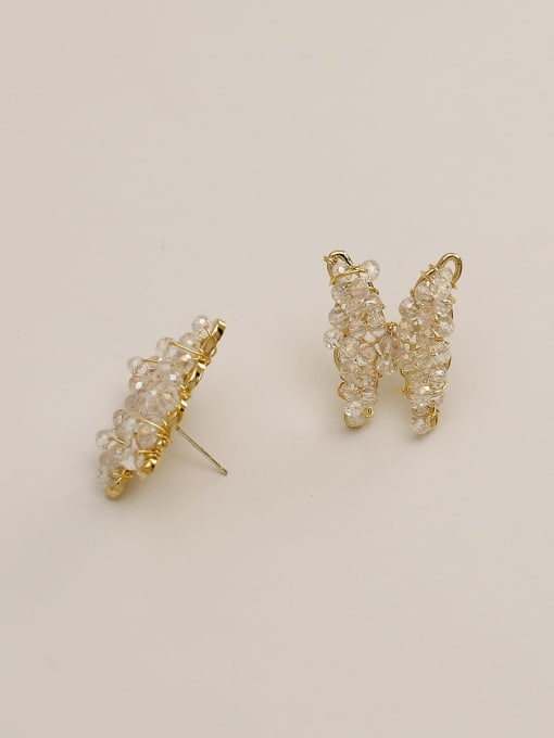 HYACINTH Brass Crystal Butterfly Ethnic Stud Earring 3