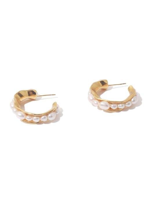 golden Brass Imitation Pearl Vintage  C shape Stud Earring