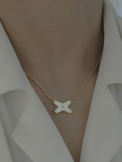 ACCA Brass Shell Cross Vintage Necklace 0