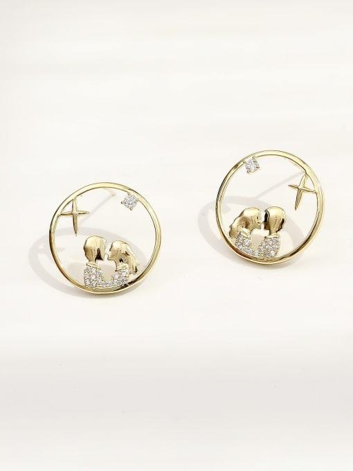 HYACINTH Brass Cubic Zirconia Geometric Hip Hop Stud Earring 0