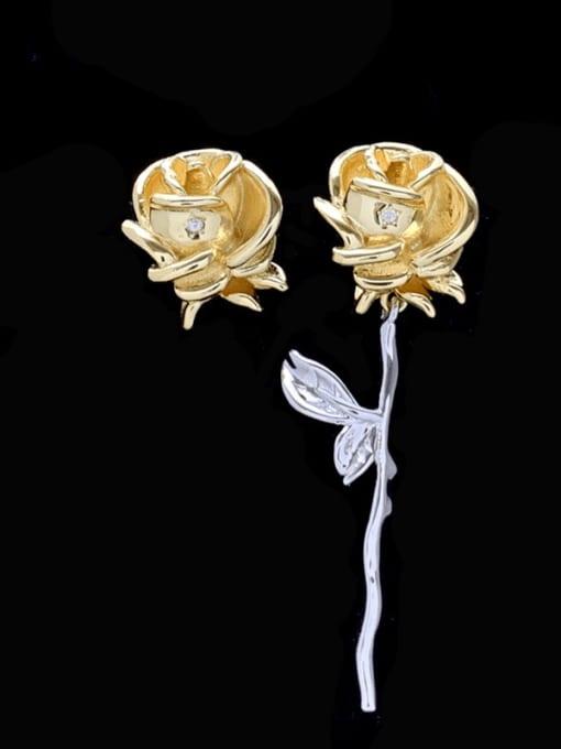 SUUTO Alloy Asymmetry Flower Vintage Stud Earring 1
