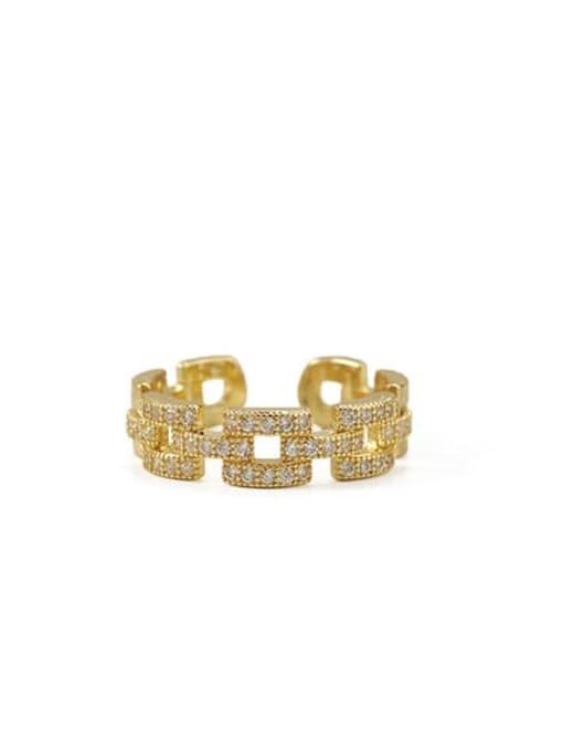 golden Brass Cubic Zirconia Geometric Vintage Band Ring