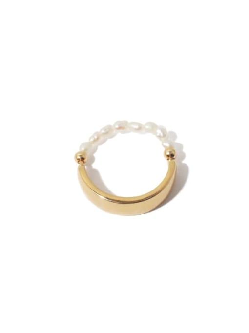 Gold (adjustable elastic rope) Brass Bead Geometric Vintage Band Ring
