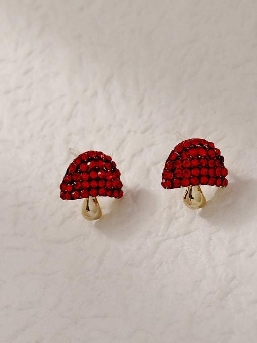 mushrooms Brass Rhinestone Friut Cute Stud Trend Korean Fashion Earring