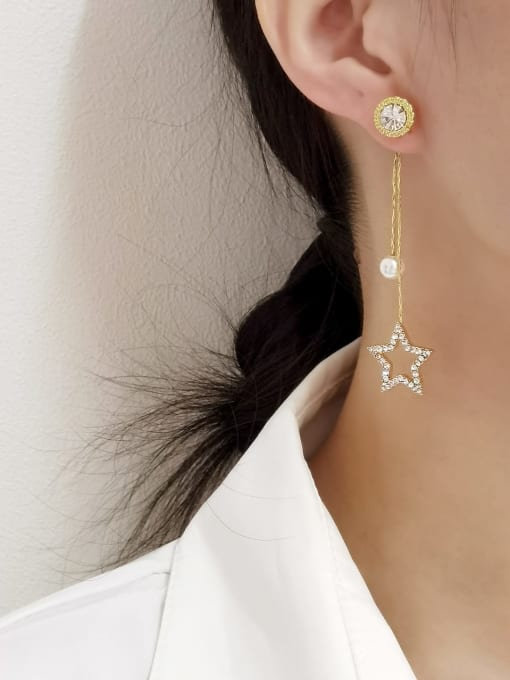 HYACINTH Brass Imitation Pearl Tassel Minimalist Drop Earring 1
