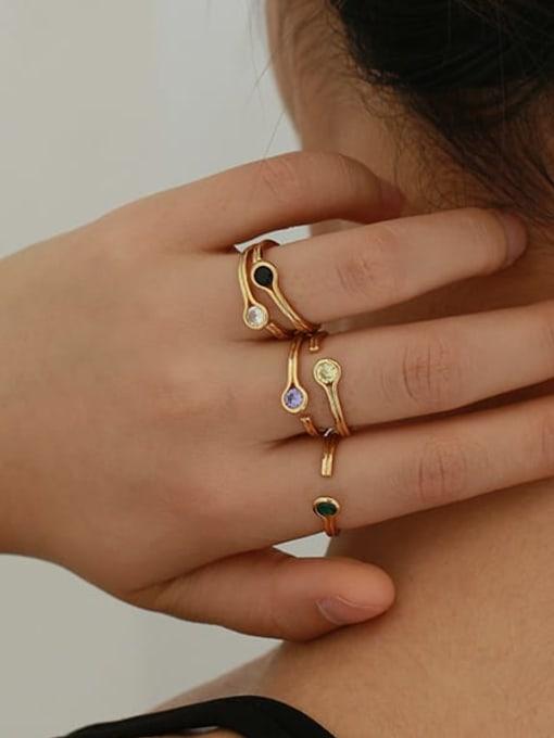 Five Color Brass Rhinestone Rainbow Minimalist Band Ring 3