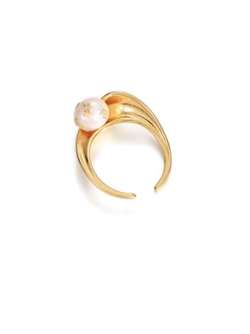 Pearl ring (not adjustable) Brass Imitation Pearl Irregular Vintage Band Ring