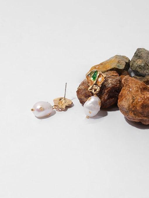 TINGS Brass Imitation Pearl Geometric Hip Hop Drop Earring 1