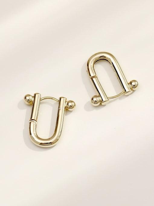 HYACINTH Brass Hollow Geometric Minimalist Huggie Earring 3