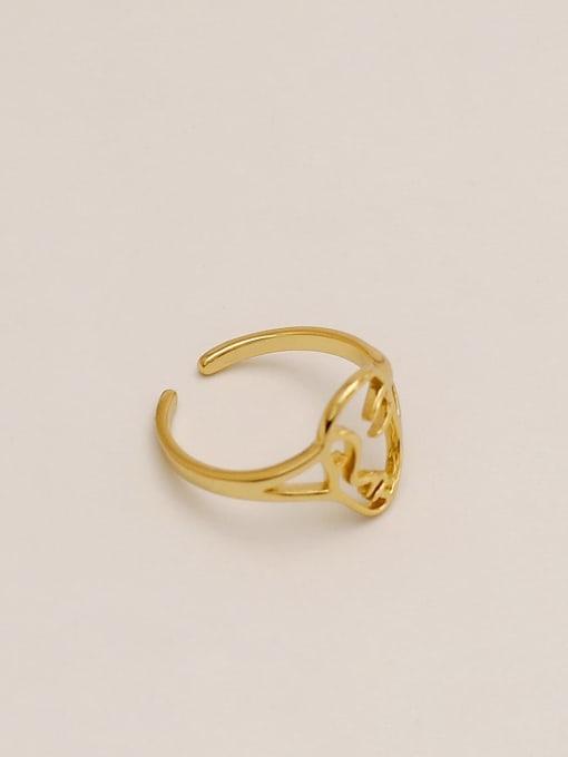 HYACINTH Brass Smiley Vintage Band Ring 1