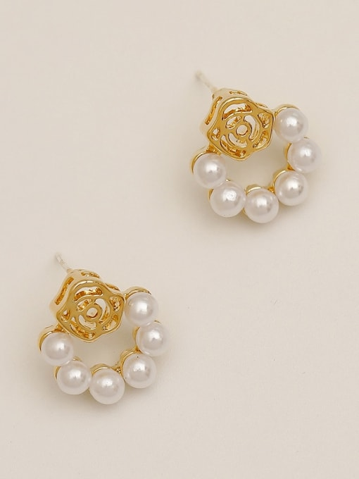 HYACINTH Brass Imitation Pearl Flower Vintage Drop Earring 3
