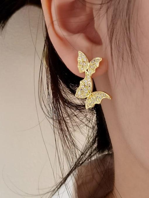 HYACINTH Brass Cubic Zirconia Asymmetry  Butterfly Luxury Stud Earring 1