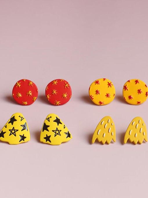 Five Color Alloy Enamel  Cute  Cartoon yellow star geometric wings Stud Earring 4