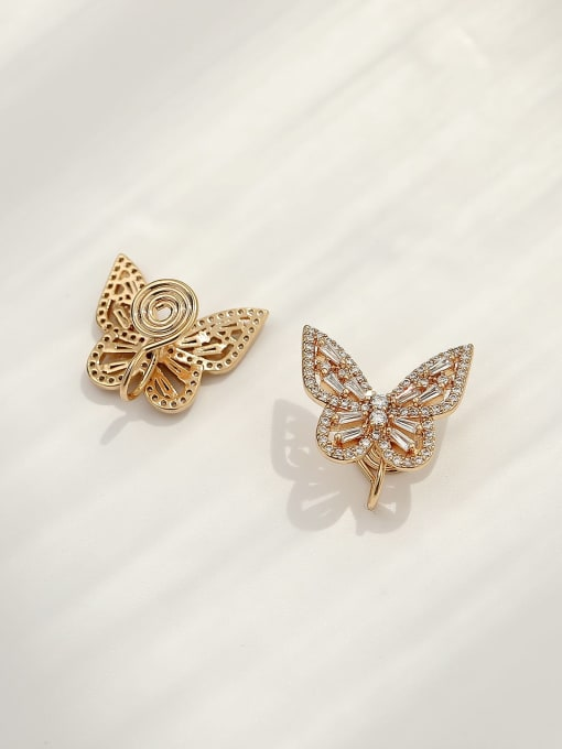 HYACINTH Brass Cubic Zirconia Butterfly Vintage Clip Earring 3