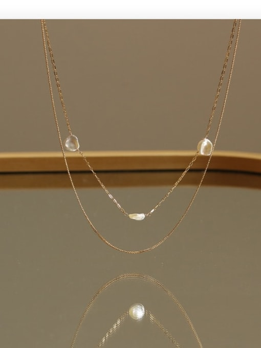 golden Brass Freshwater Pearl Geometric Minimalist Necklace