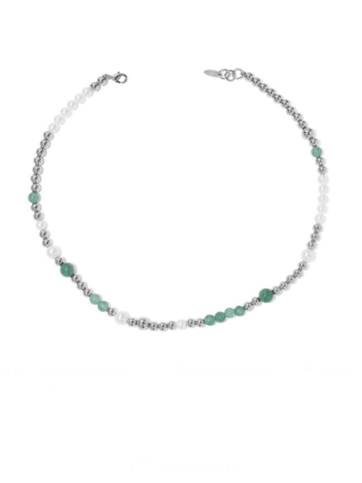 Rough money Brass Imitation Pearl Geometric Hip Hop Beaded Necklace