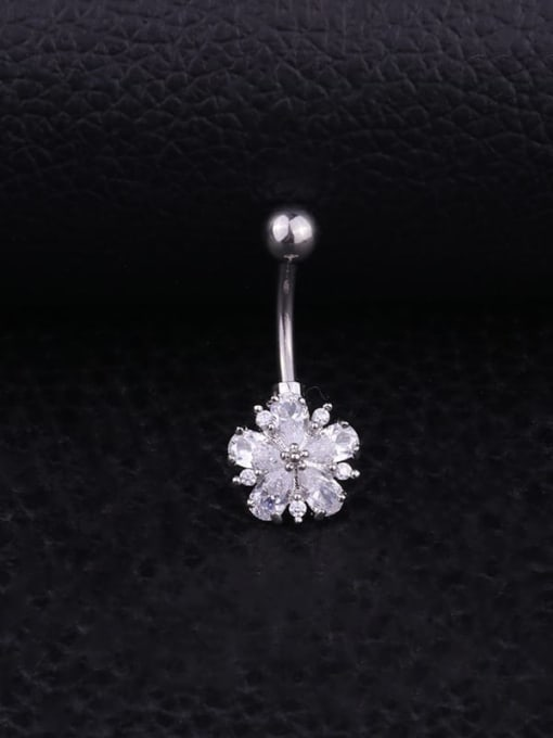 white Stainless steel Cubic Zirconia Flower Hip Hop Belly Rings & Belly Bars