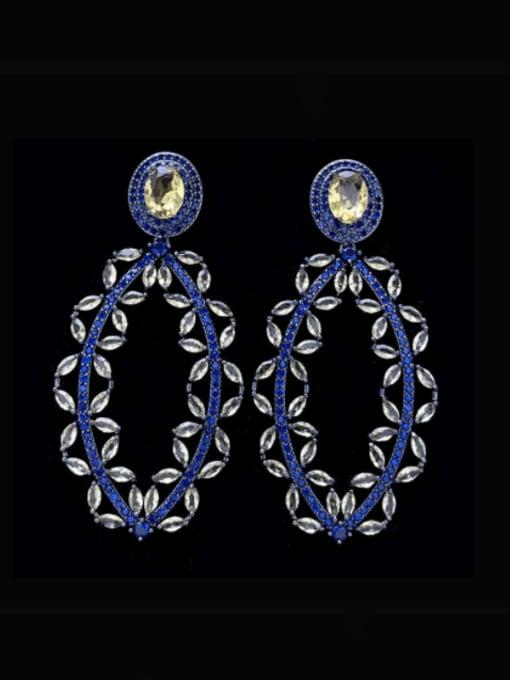 SUUTO Brass Cubic Zirconia Geometric Luxury Drop Earring 3