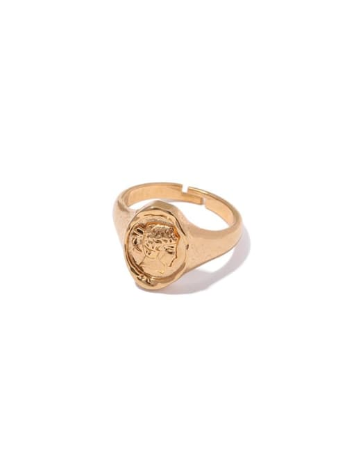 2 (No. 6 ring) Brass Hollow Geometric Vintage Band Ring