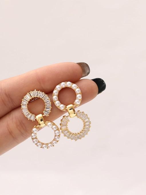 HYACINTH Brass Imitation Pearl Geometric Vintage Drop Earring 1