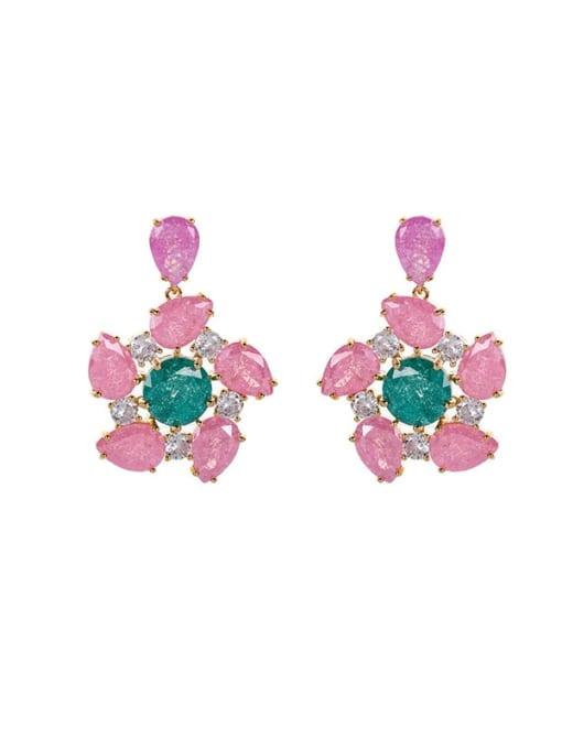 OUOU Brass Opal Flower Luxury Drop Earring