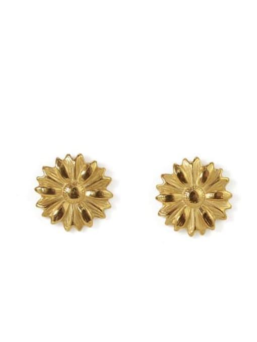 Daisy Earrings Brass Round Vintage Stud Earring