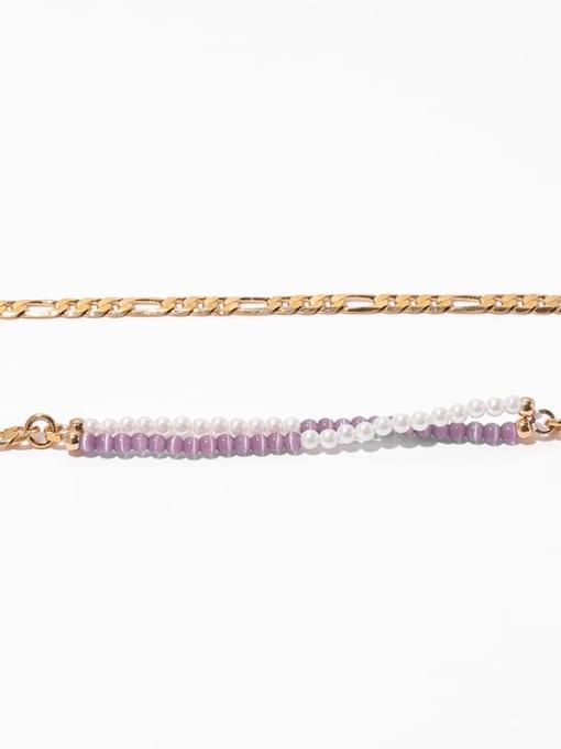 TINGS Brass Imitation Pearl Geometric Vintage Multi Strand Necklace 2
