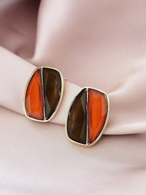 HYACINTH Brass Resin Geometric Vintage Stud Earring 2
