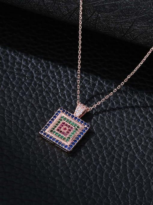 purple blue Brass Cubic Zirconia Geometric Minimalist Necklace