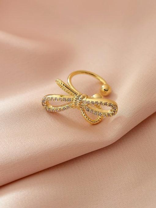 14k Gold Brass Cubic Zirconia Bowknot Minimalist Clip Earring