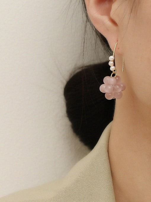 HYACINTH Brass Bead Flower Cute Hook Earring 1