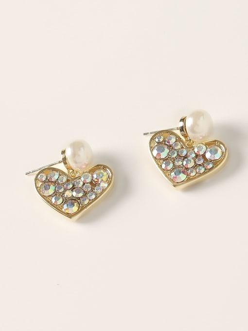 HYACINTH Brass Cubic Zirconia Heart Vintage Stud Earring 0