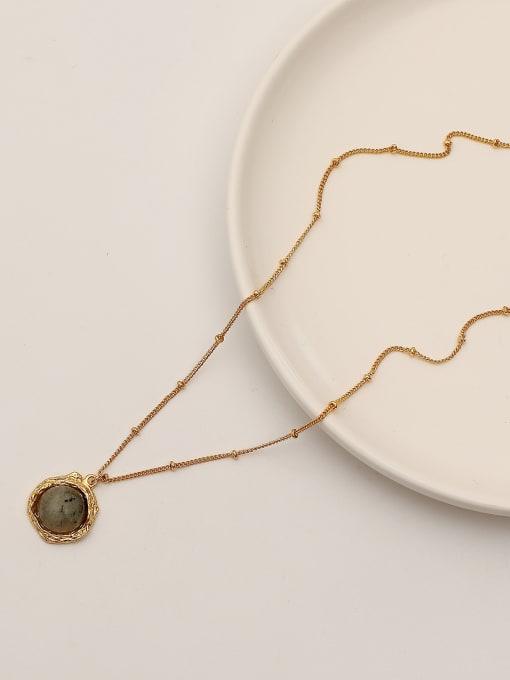 18K Brass Glass Stone Geometric Vintage Necklace