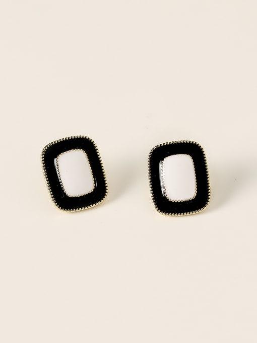 14k Gold Black Brass Enamel Geometric Vintage Stud Earring