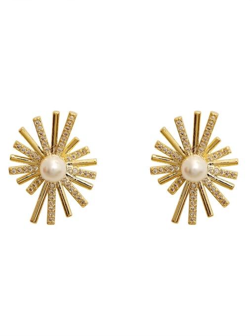HYACINTH Copper Cubic Zirconia Flower Vintage Stud Earring