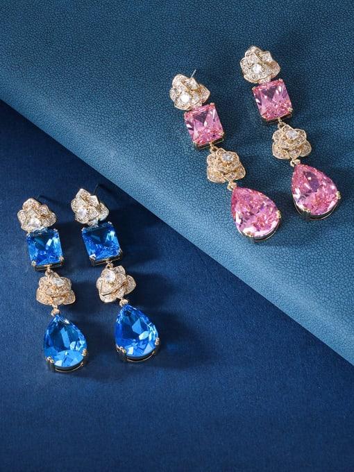 OUOU Brass Cubic Zirconia Geometric Luxury Drop Earring