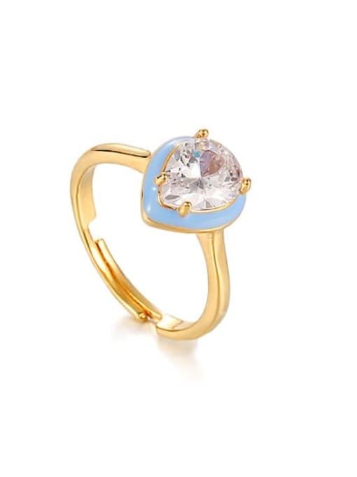 Haze blue oil drop ring Brass Enamel Cubic Zirconia Water Drop Vintage Band Ring