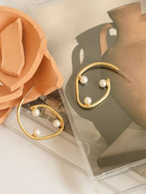 Five Color Brass Imitation Pearl Geometric Minimalist Stud Earring 2