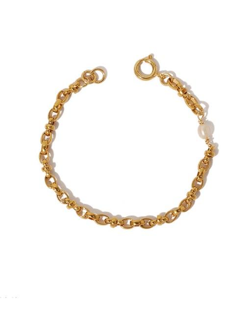 Five Color Brass Geometric Hip Hop Hollow Chain Link Bracelet 0