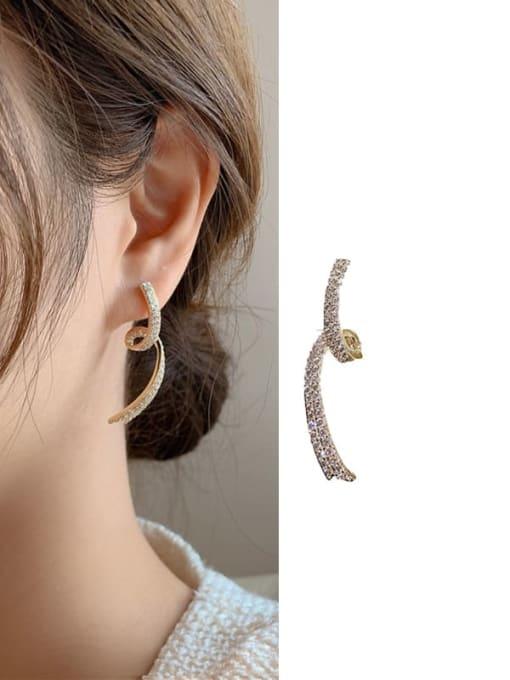 Curved Earrings Brass Cubic Zirconia Irregular Minimalist Stud Earring