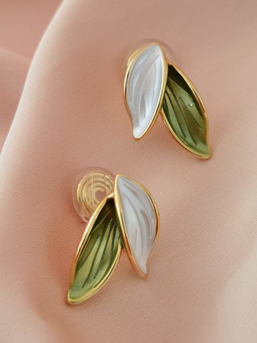 HYACINTH Brass Enamel Tree Minimalist Clip Earring 0